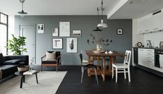 black floor Black floors, grey walls and lots of art pieces Interior Door, Interior Design Living Room, Living Room Decor, Living Spaces, Dining Room, Dark Grey Walls, Grey Room, Black Floor, Home And Living