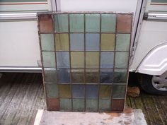 VINTAGE, PROBABLY EDWARDIAN STAINED GLASS PANEL/WINDOW 28  X 23.5