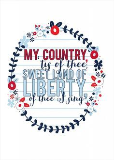 My country tis of thee 5x7 white