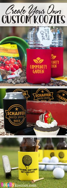 Create your own custom #koozies! We offer hundreds of stock art designs to make it easy to customize your info for your business, event, party, reunion, graduation, holidays get-togethers more!  We have a variety of styles, colors & sizes to compliment any event!  Use coupon code PINNER10 and receive 10% off your koozie order! Sale applies to piece price only, not valid with other coupon codes and expires April 4, 2017!