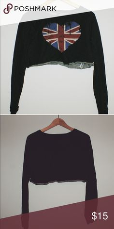 Forever 21 cropped sweater Like new. Small! Above belly button! Dark color Forever 21 Tops Crop Tops