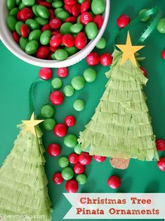 Make a Christmas tree pinata ornament with this tutorial. Frugal Christmas, Kids Christmas Ornaments, Christmas Love, All Things Christmas, Handmade Christmas, Holiday Crafts, Holiday Fun, Christmas Holidays, Christmas Decorations