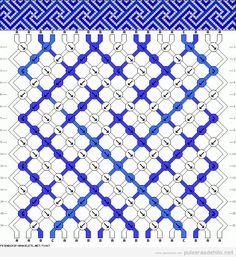 Esquema o patron para hacer pulsera de hilo con espiral cuadrado http://pulserasdehilo.net/tag/espiral/