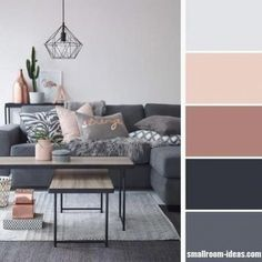 Dark grey and pastel pink living room It is crucial to choose a living room color scheme that can reflect your personality and style. The right choice of color will truly bring your living room into another level. This is because color… Living Room Colour Design, Living Room Color Schemes, Living Room Designs, Design Color, Grey Living Room Ideas Colour Palettes, Color Palettes, Small Living Room Design, Tiny Living, Living Room Modern