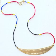 Say anything with the 8 Kinds Jumbo Morse Code Necklace. Brass plate on colorful Japanese delica seed beads. #happy