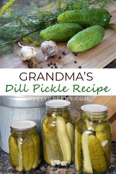 Dill Pickle Recipe - Grandma's recipe for crunchy Dill Pickles. Using fresh cucumbers, dill, spices, and brine, this f - Grandma's Dill Pickle Recipe, Canning Dill Pickles, Cucumber Canning, Cucumber Recipes, Dill Pickle Brine Recipe, Pickling Brine Recipe, Home Made Pickles Recipe, Pickling Spice Recipe For Dill Pickles, Classic Dill Pickle Recipe