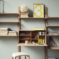 Strap shelf deep—Bolia - hideaway desk with shelves for kitchen - love it.