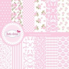 Kit Papel Digital Festa Rosa e Branco