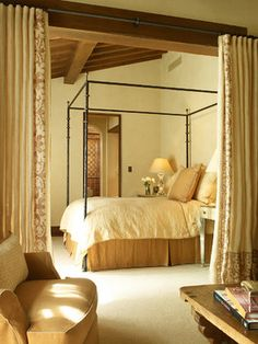 khaki & cream bedroom - solid cream curtains with wide patterned border - RJ Dailey Construction Co.