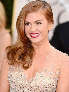 "2 things stand out to me in Isla Fisher's look : her gorgeous ""Deep Sweep"" hairstyle & bright raspberry lip."