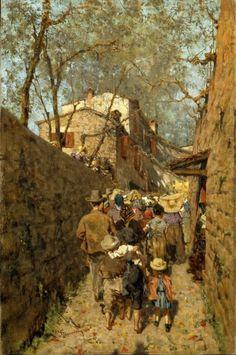 Telemaco Signorini  Processione a Settignano, 1880  Olio su tela