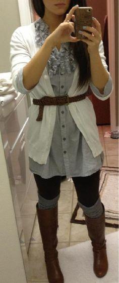 Ruffle dress, belted cardi, leggings & boots.