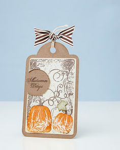 Add this festive tag to an autumn gift using the Cricut® Art Philosophy cartridge.