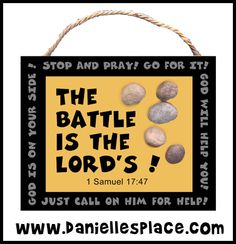 The Battle is the Lords David and Goliath Bible Craft for Sunday School on www.daniellesplace.com