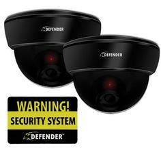 Defender PH301-BD Home Deterrent Bundle with 2 Imitation Security Dome Cameras and Warning Sign by Defender. $19.99. Imitation security cameras are an easy way to deter intruders or vandals and make your property appear to have a robust security system. The ABS plastic housing and cable make each camera look like a real, functioning security device. This package can even be used in combination with a functioning security system to heighten the effectiveness. Customers, neighbor...
