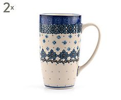 Set di 2 mug in ceramica Aqua, blu/bianco - 400 ml