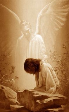 * God the Father sent an angel to strengthen Jesus in the garden of Gethsemane Jesus Son Of God, Jesus Art, Pictures Of Jesus Christ, Religious Pictures, Miséricorde Divine, Spiritual Images, Angel Images, Jesus Christus, Way To Heaven