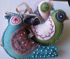 Handmade felt doves