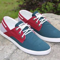 Chaussures bateau Homme Sneakers casual shoes canvas toile chic Rouge