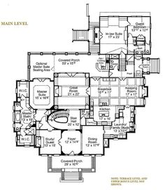 This classical design floor plan is 6570 sq ft and has 5 bedrooms and has 5 bathrooms. House Plans One Story, Dream House Plans, Story House, House Floor Plans, 4000 Sq Ft House Plans, Plan Ville, Master Room, Master Suite, Master Bath