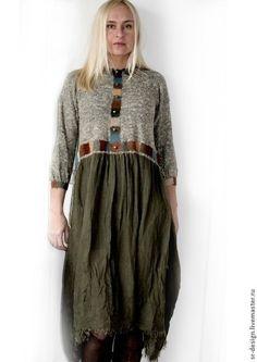 платье бохо квадратики - хаки,однотонный,табачный,зеленый,меланж,меланжевый