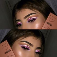 Sweet Cut-Crease Makeup  ✨ @anastasiabeverlyhills Glow Kit that glow. ✨ #anastasiabrows Dipbrow pomade ebony. ✨ @luxelarose Pink glitter eyes. ✨ @nyxcosmetics White liquid liner. ✨ @morphebrushes 35o eyeshadow palette.