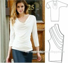 Drape Blouse --- inspiration for Renfrew modifications Sewing Patterns Free, Clothing Patterns, Dress Patterns, Diy Fashion, Ideias Fashion, Fashion Design, Sewing Blouses, Techniques Couture, Tunic Pattern