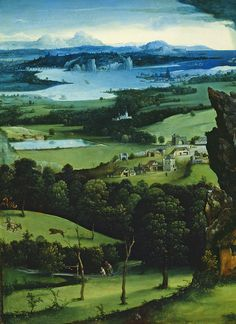 Landscape with St. Jerome, 1516. Detail. Joachim Patinir.