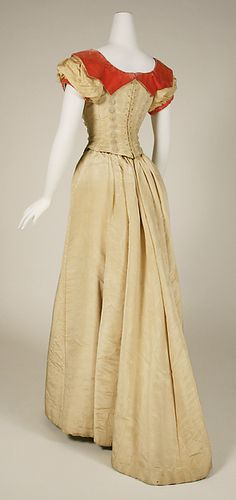 Evening dress, beige silk moiré and burnt orange silk velvet, 1891