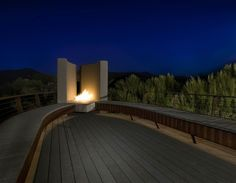 Amazing outdoor fireplace in AZ. Gordon Rogers, architect.