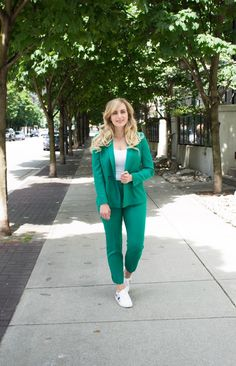 Jade Green Suit and how to style it on the blog! Click through for details on one of summer's biggest 9 to 5 style trends!