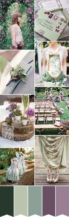A fairytale grean and purple wedding inspiration palette Wedding Color Schemes, Wedding Colors, Wedding Flowers, Colour Schemes, Colour Palettes, Wedding Themes, Wedding Styles, Wedding Decorations, Wedding Centerpieces