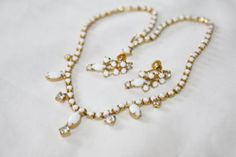 Vintage White Necklace Rhinestone Matching Earrings by patwatty, $18.00