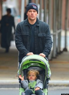 Matt Damon -- who is daddy to stepdaughter Alexia, 14, and his kids with wife Luciana Barroso, Isabella, 6, Gia, 4, and Stella, almost 2 -- took a chilly afternoon stroll in NYC with his youngest.