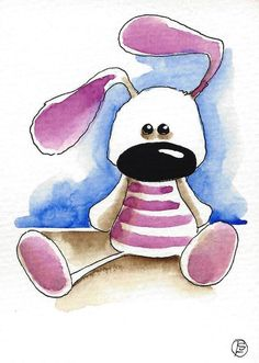 ACEO Original illustration Purple bunny by stressiecat on Etsy