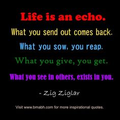 Life is an echo. What you send out comes back. What you sow, you reap. What you give, you get. What you see in others, exists in you.For more #quotes and #inspiration, follow us  at https://www.pinterest.com/bmabh/  or visit our website http://www.bmabh.com/