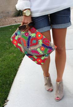 White Peasant Blouse, Denim Shorts, Suede Peep Toe Booties, Floral Clutch, Gap, Loft, Paul Green, Nordstrom 8