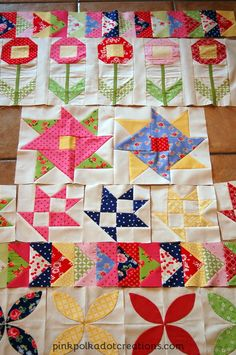 Posies on Parade Quilt-WIP | Pink Polka Dot Creations