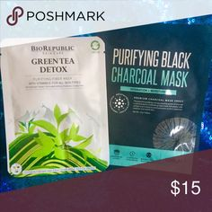 Green Tea & Black Charcoal Face Masks 2 face mask combo! BioRepublic Green Tea Detox face mask & Purifying Black Charcoal face mask from SooAE Makeup