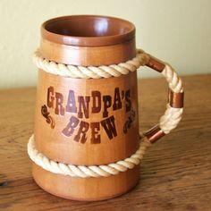 Vintage Wooden Mug  Grandpa's Brew  Rope Handle  by VintageWolfy, $14.00