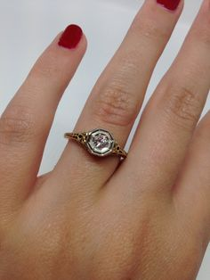 14k Filigree Antique Engagement Ring Circa 1880's by Appelblom