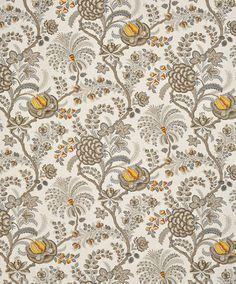 Bennison Fabrics, Paiampore, Katy Elliot, gray, orange, yellow, botanical