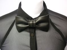 Black bow tie in a faux leather fabric pre tied bow by BlackSafari, £12.00