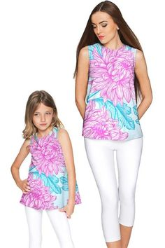 Floral Bliss Emily Sleeveless Top - Girls - Pineapple - Mommy and Me Clothing