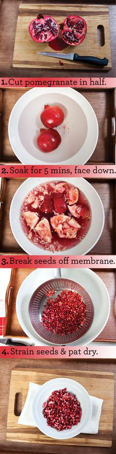 How to get pomegranate seeds out of a pomegranate.