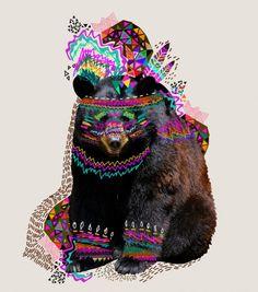 Ohkwari Art Print - Tribal Feather Geometric Bear from Society6 on SmallforBig.com #illustration