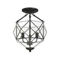 """Grayton 3-Light Semi-Flush Mount Black with Faceted Glass Finish-22687-012 at The Home Depot 