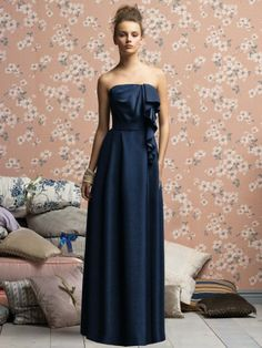 (NO.018648 )A-line Strapless Sashes / Ribbons  Sleeveless Floor-length Satin Dark Navy Bridesmaid Dress / Prom Dress / Evening Dress