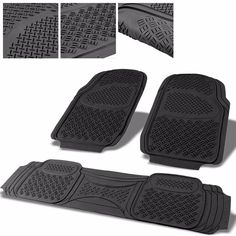 Universal 3Pcs Tan ABS Heavy Duty All Weather Front+Back Seats Floor Mats
