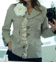 Less-Than-Perfect Life of Bliss: Spring Jacket Refashion. Adding ruffle to old jacket! Diy Clothes Tops, Diy Clothes Refashion, Shirt Refashion, Diy Clothing, Sewing Clothes, Clothes For Women, Refashioned Clothes, Recycled Clothing, Umgestaltete Shirts